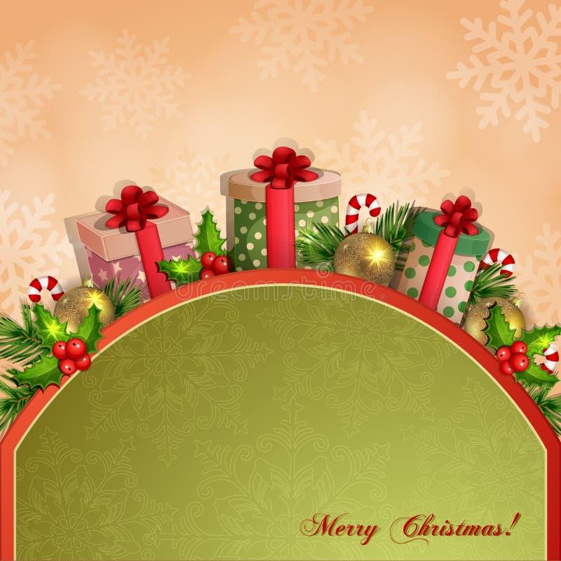 Ejemplo de la Navidad con las cajas de regalo. stock de ilustración