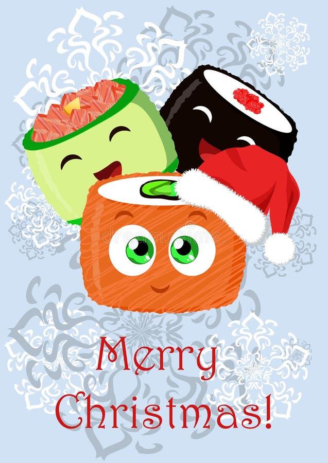 Ejemplo de la Navidad del saludo con el sushi ilustración del vector