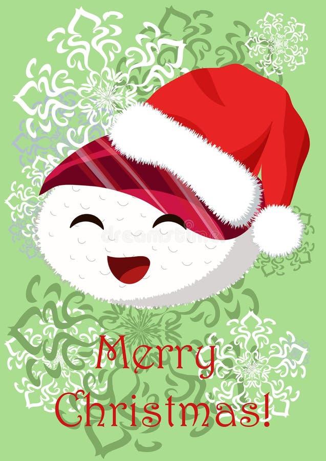 Ejemplo de la Navidad del saludo con la imagen del onigiri divertido stock de ilustración