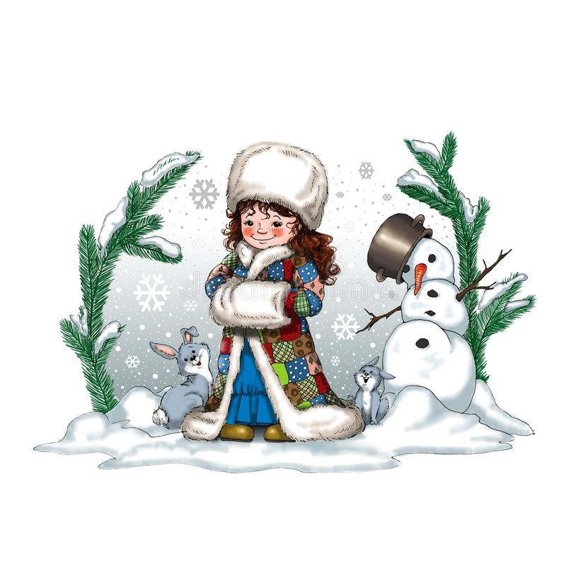 Ejemplo de la Navidad de Digitaces con conejos lindos de una niña dos y un muñeco de nieve libre illustration