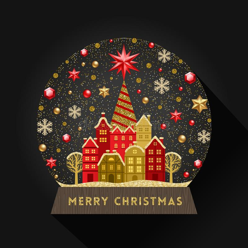 Ejemplo de la Navidad Globo de la nieve con la pequeña ciudad ilustración del vector