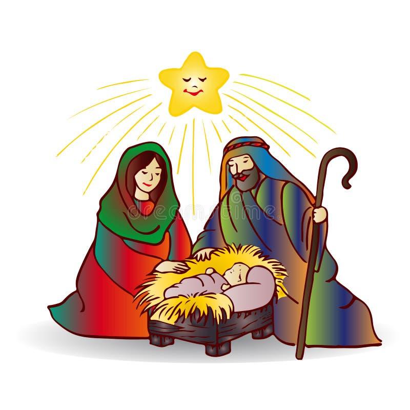Ejemplo de la Navidad Jesus Christ, historieta en el backg blanco libre illustration