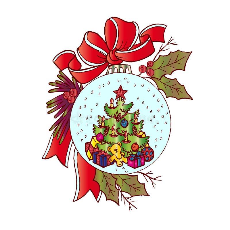 Ejemplo de la Navidad, juguete para el árbol de navidad, adornado maravillosamente, historieta en el fondo blanco, ilustración del vector