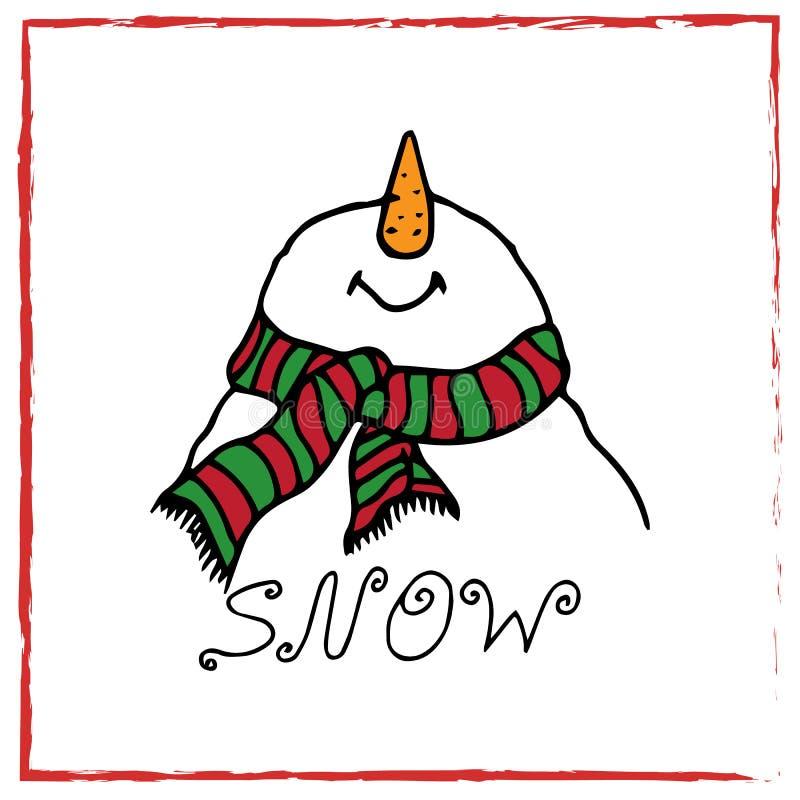 Ejemplo de la Navidad Muñeco de nieve de la tarjeta de Navidad Modelo inconsútil libre illustration