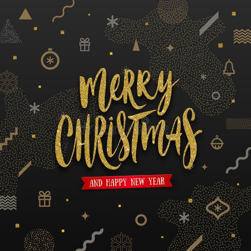 Ejemplo de la Navidad - saludo del día de fiesta del oro del brillo en un fondo abstracto de la Navidad libre illustration