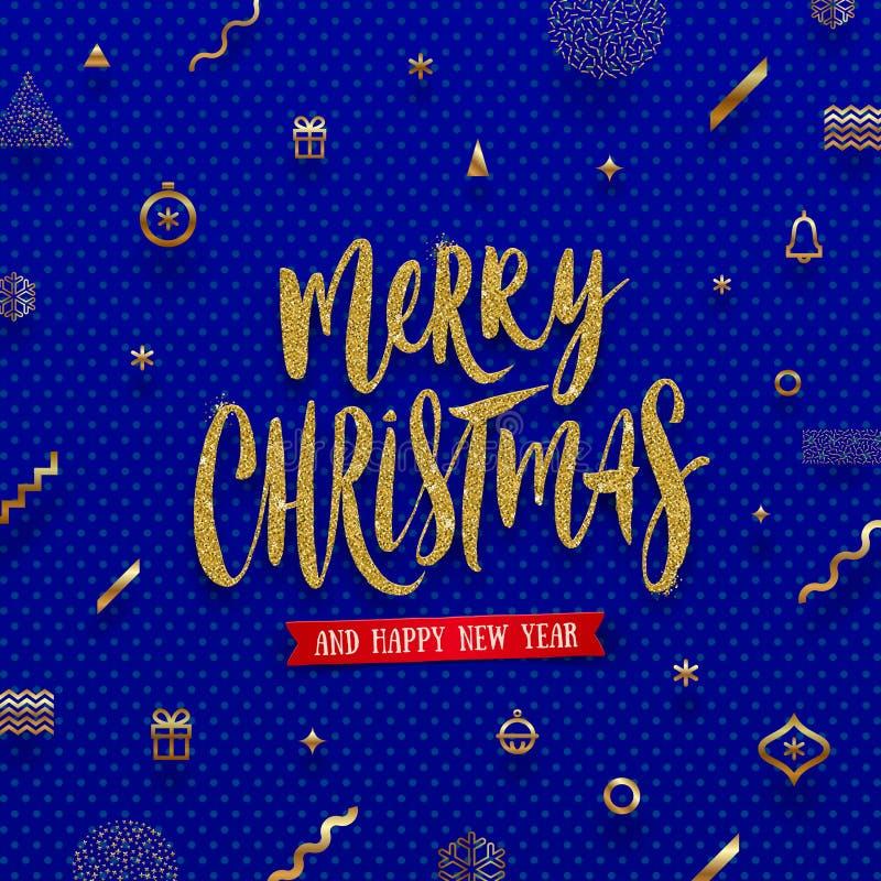 Ejemplo de la Navidad - saludo del día de fiesta del oro del brillo en un fondo abstracto de la Navidad stock de ilustración