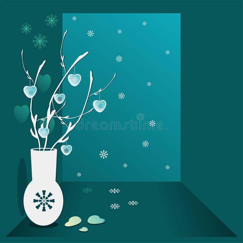 Ejemplo de la Navidad Trullo del fondo con las puntillas en florero, corazones colgantes y copos de nieve Una imagen del St día d ilustración del vector