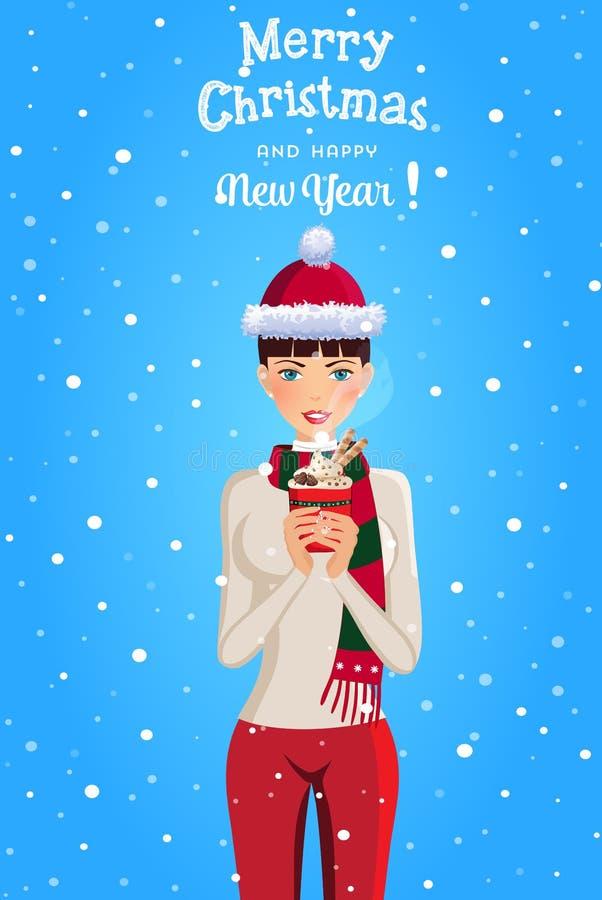 Ejemplo de la Navidad y del Año Nuevo de la muchacha linda con el pelo marrón libre illustration