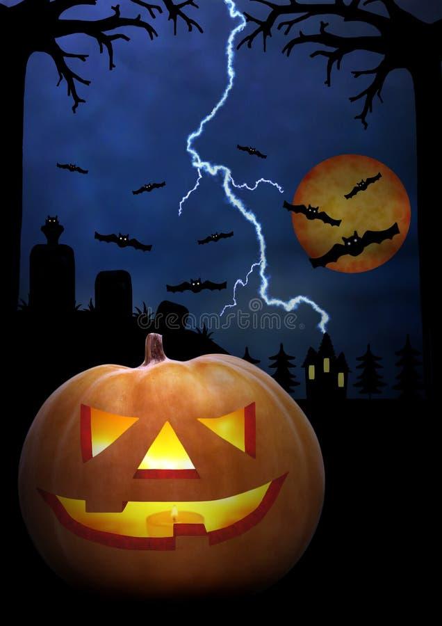 Ejemplo de la noche de Halloween Cara asustadiza de la calabaza en la oscuridad Tono azul marino ¡Horror! ilustración del vector
