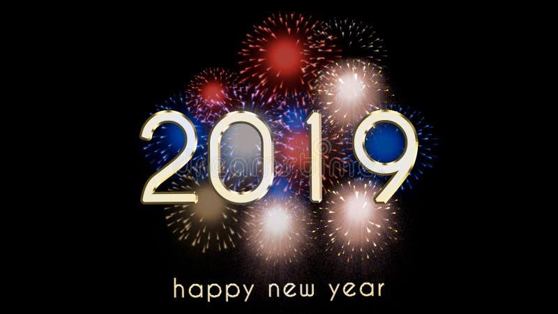 Ejemplo de la Noche Vieja, tarjeta de la Feliz Año Nuevo 2019 con los fuegos artificiales coloridos imágenes de archivo libres de regalías