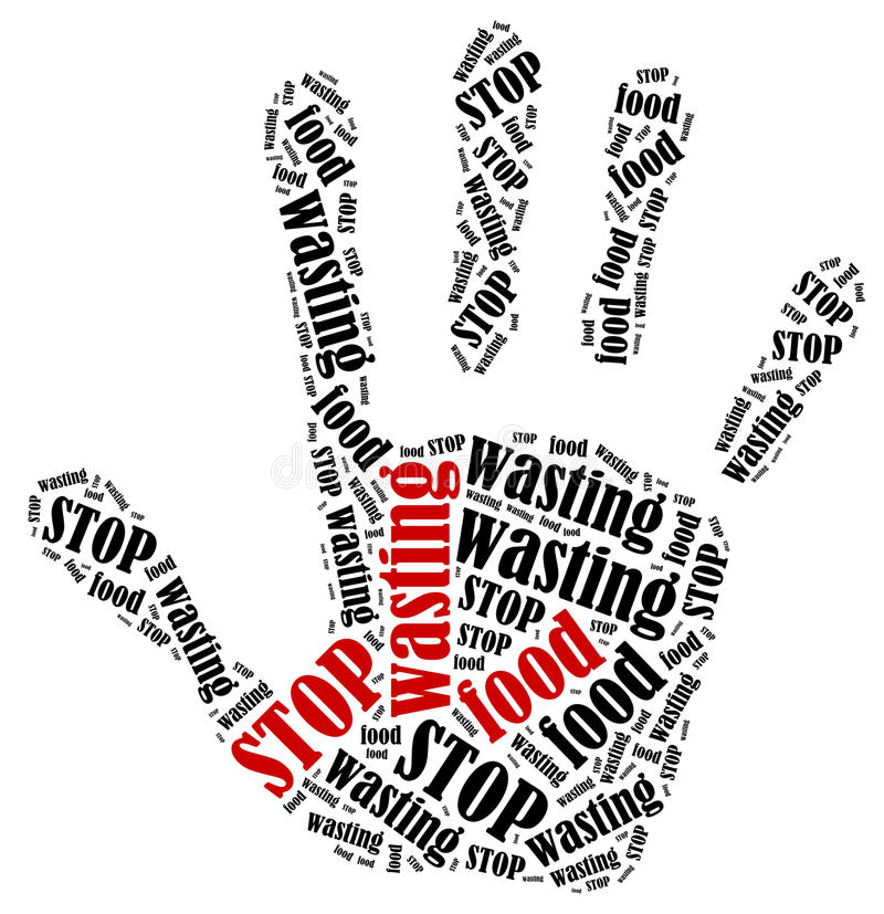 Ejemplo de la nube de la palabra en la forma de la impresión de la mano que muestra protesta stock de ilustración