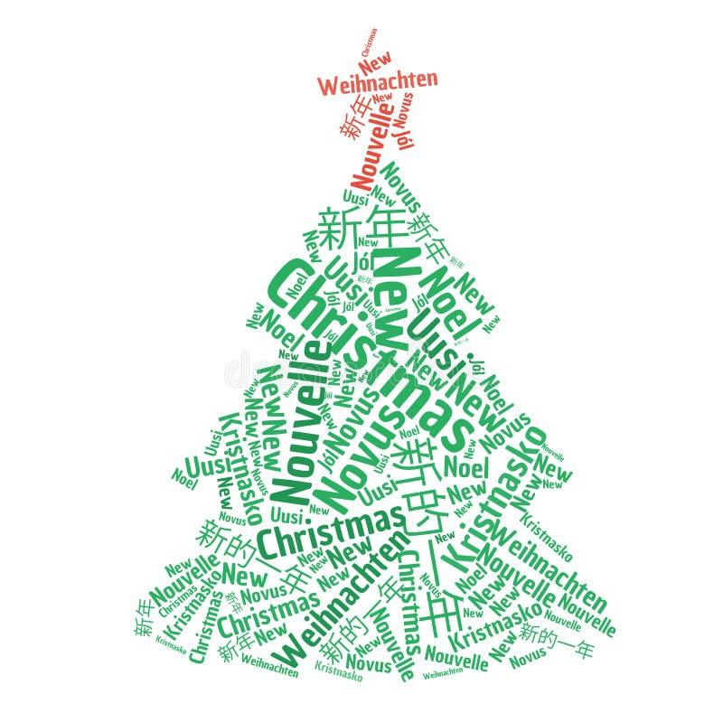 Ejemplo de la nube de la palabra del árbol de navidad foto de archivo libre de regalías