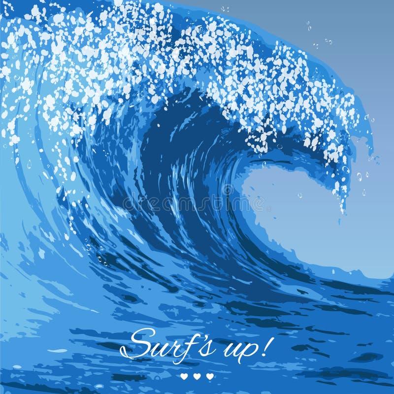 Ejemplo de la ola oceánica ilustración del vector