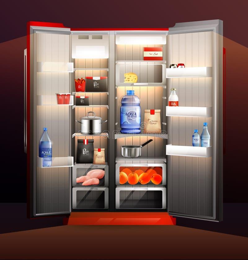 Ejemplo de la organización del refrigerador que brilla intensamente libre illustration