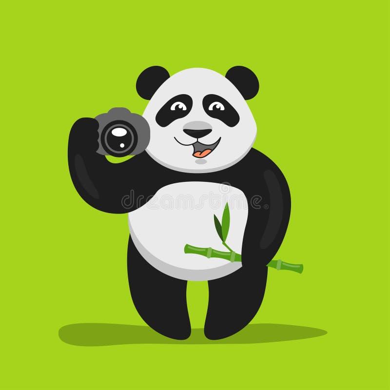 Ejemplo de la panda divertida que celebra la cámara ilustración del vector