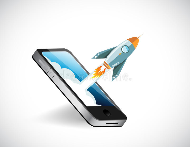 ejemplo de la pantalla y del cohete del teléfono ilustración del vector