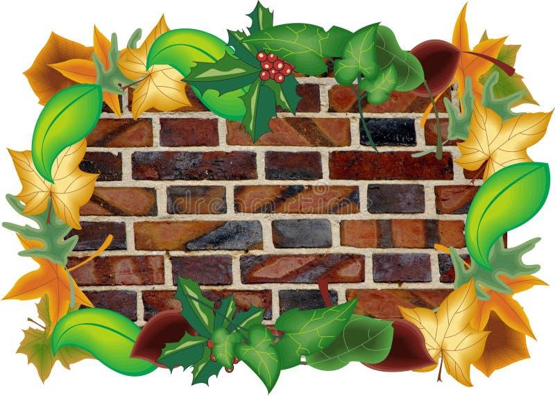 Ejemplo de la pared rodeado por las hojas libre illustration