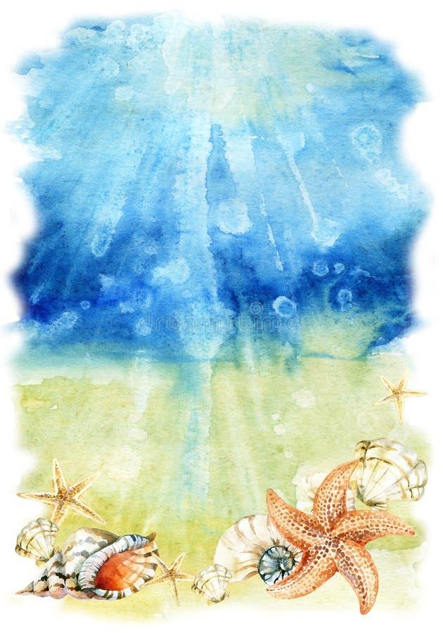 Ejemplo de la parte inferior de mar de la acuarela con las cáscaras y las estrellas de mar del mar stock de ilustración