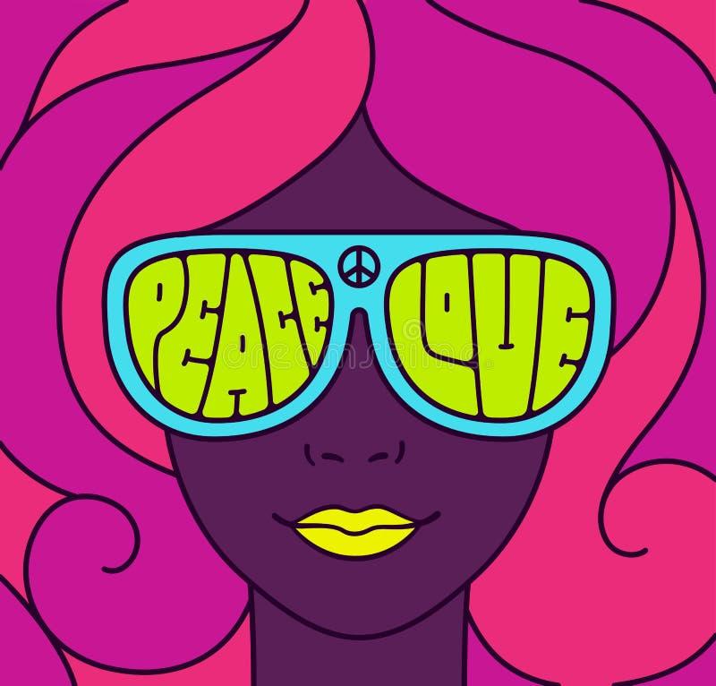 Ejemplo de la paz del amor del hippie ilustración del vector
