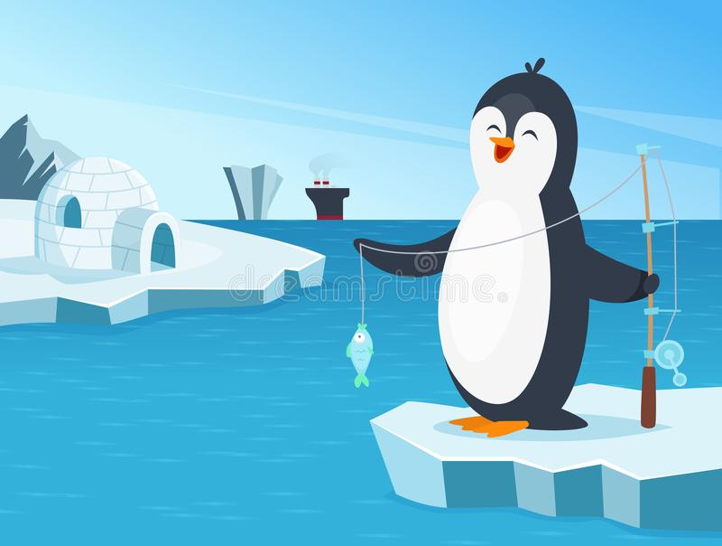 Ejemplo de la pequeña pesca del pingüino en el norte libre illustration