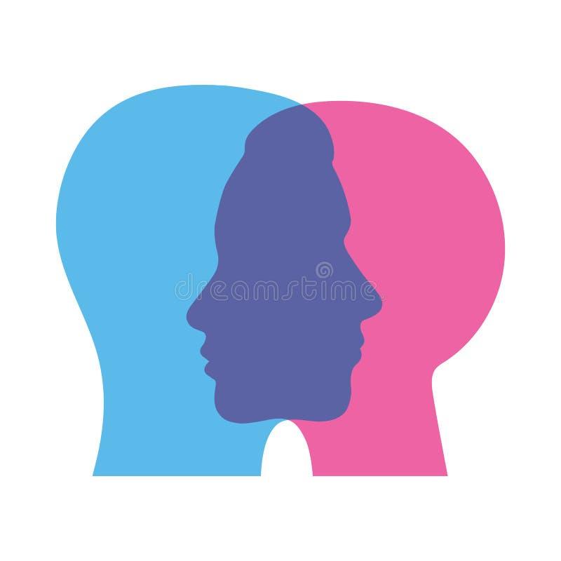 Ejemplo de la personalidad dual del extracto de la muestra, par en amor ilustración del vector
