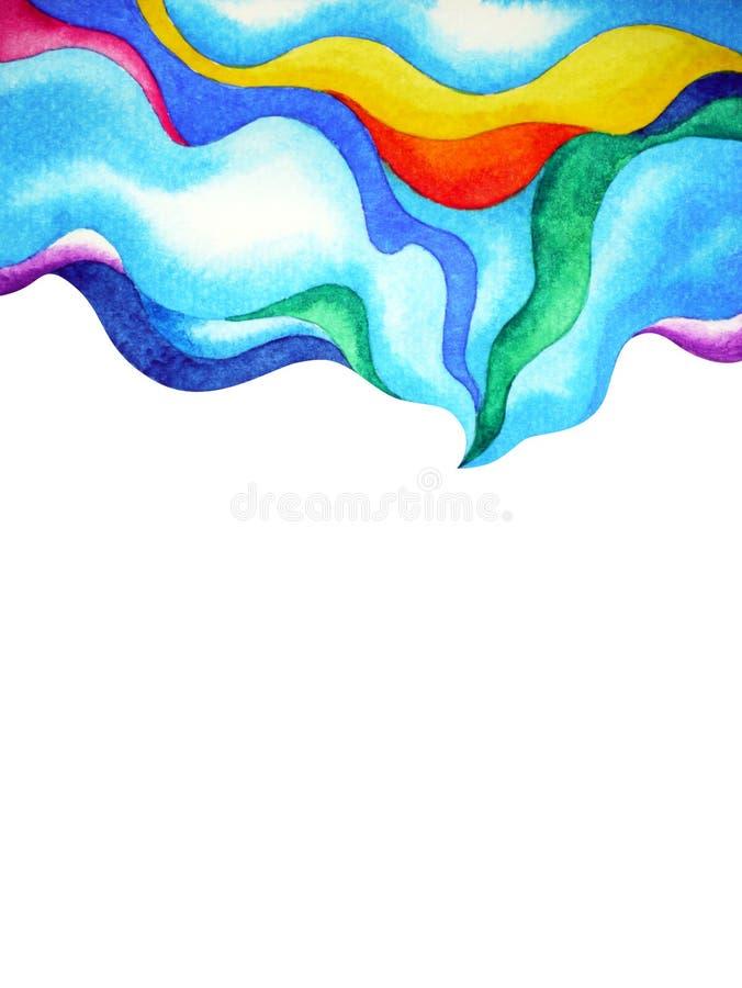 Ejemplo de la pintura de la acuarela de la burbuja del cielo de la nube del color del arte abstracto stock de ilustración