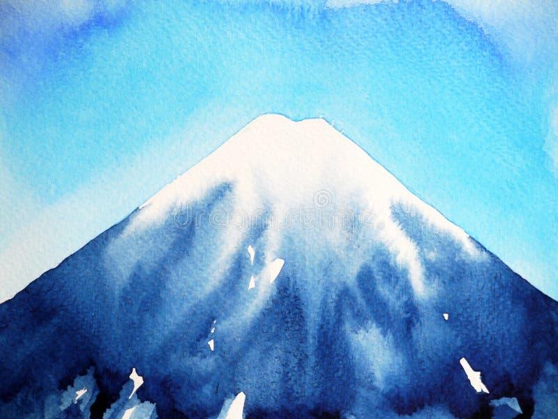 Ejemplo de la pintura de la acuarela del cielo fujisan y azul de la montaña de Fuji fotografía de archivo