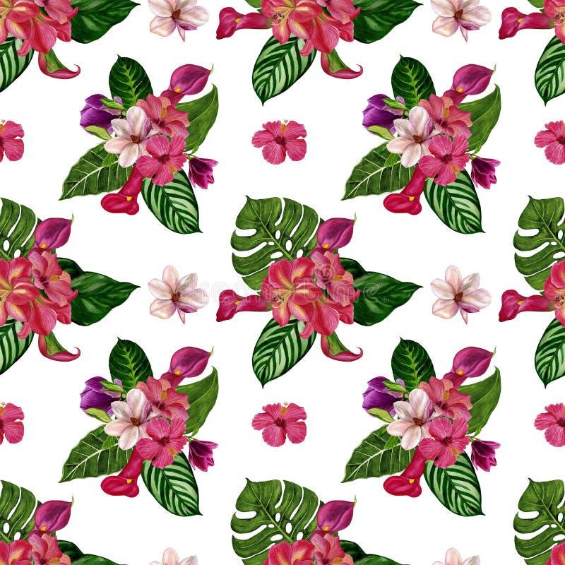 Ejemplo de la pintura de la acuarela de un fondo tropical Modelo tropical inconsútil con las flores exóticas libre illustration