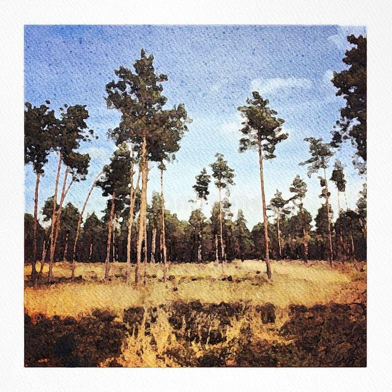 Ejemplo de la pintura de la acuarela de un parque nacional fotografía de archivo libre de regalías