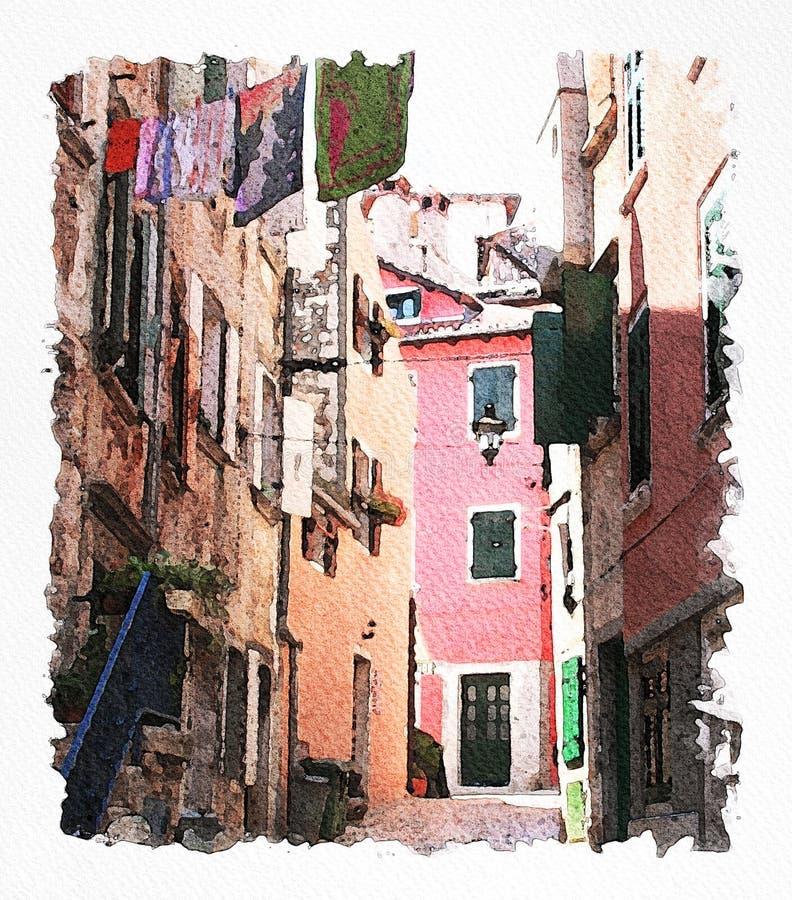 Ejemplo de la pintura de la acuarela de una ciudad colorida fotografía de archivo