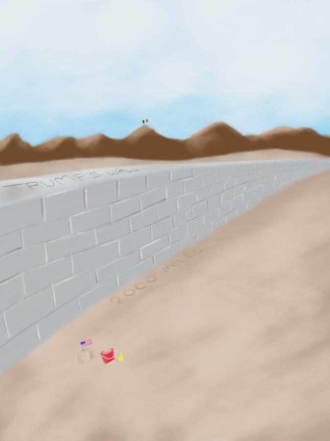 Ejemplo de la pintura de la historieta de Donald Trump Wall Usa Mexico ilustración del vector
