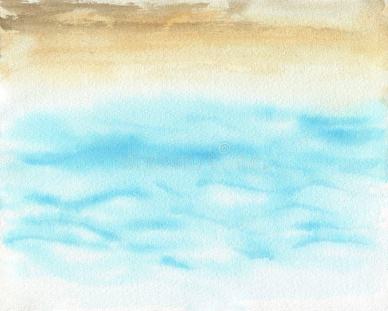 Ejemplo de la pintura de la mano de la acuarela del océano libre illustration