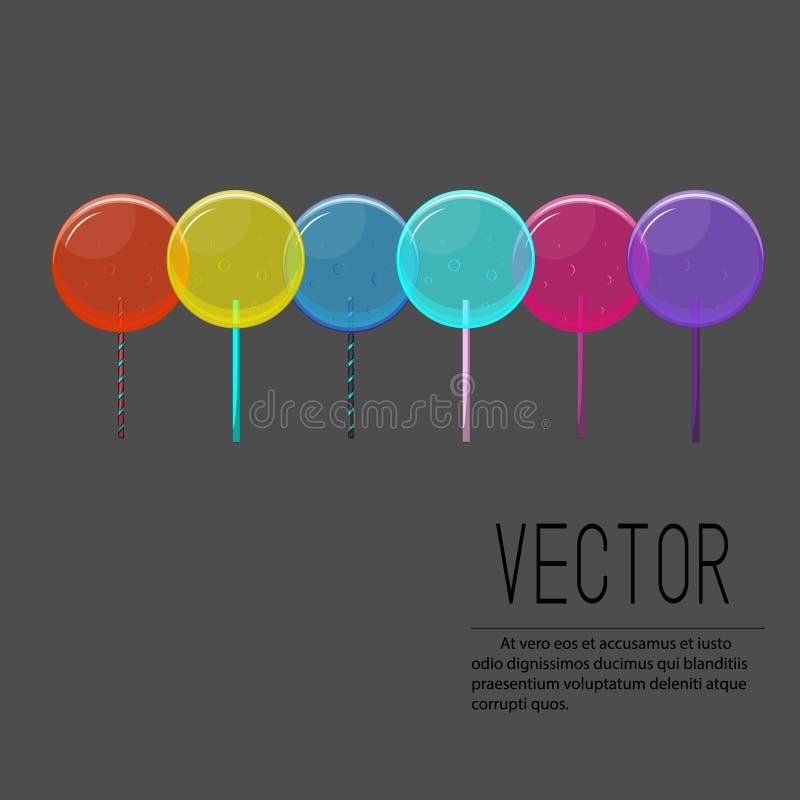 Ejemplo de la piruleta del vector Dulces coloridos del caramelo con las burbujas Colección del diseño del niño Impresión linda de ilustración del vector
