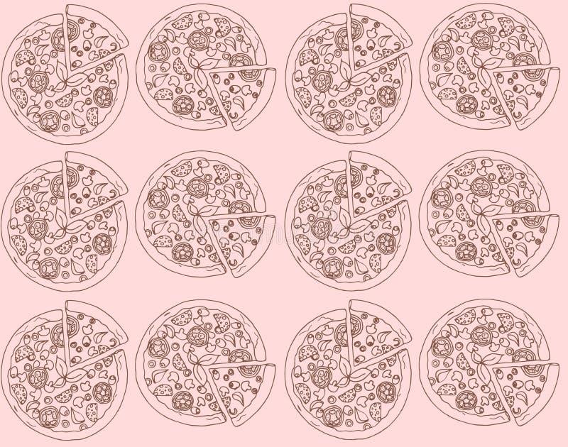 Ejemplo de la pizza Fondo con las pizzas Modelo inconsútil stock de ilustración