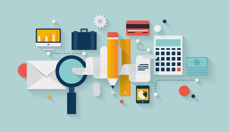 Ejemplo de la planificación financiera y del desarrollo stock de ilustración