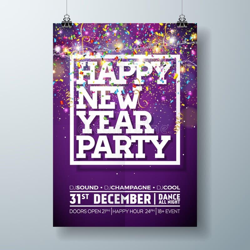 Ejemplo de la plantilla del cartel de la celebración del partido del Año Nuevo con diseño de la tipografía y confeti que cae en c ilustración del vector