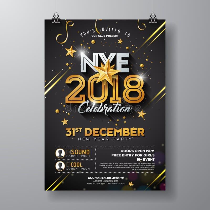 Ejemplo de la plantilla del cartel de la celebración del partido del Año Nuevo 2018 con número brillante del oro en fondo negro D stock de ilustración