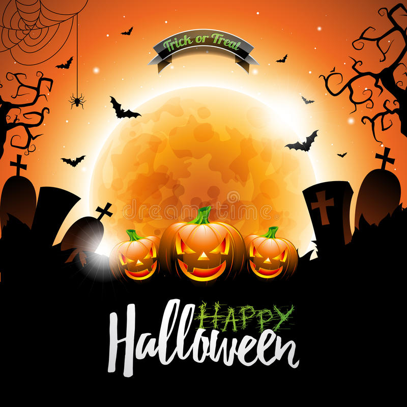 Ejemplo de la plantilla del cartel del vector de la venta de Halloween con la luna y palos en fondo anaranjado del cielo Diseño p stock de ilustración