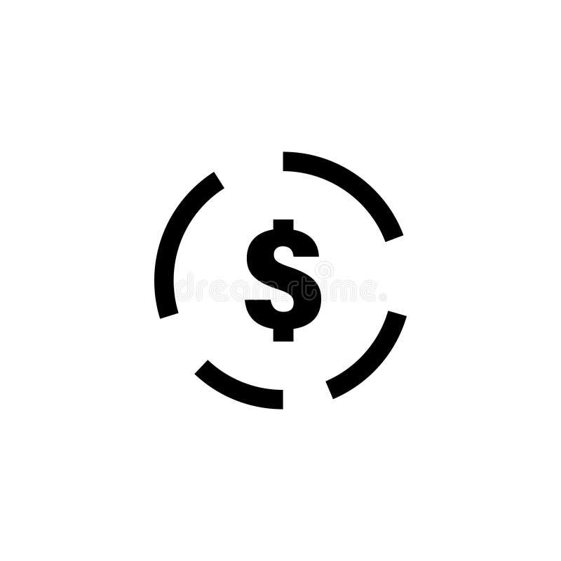 Ejemplo de la plantilla del diseño gráfico del icono de la muestra de dólar ilustración del vector