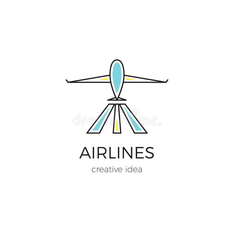 Ejemplo de la plantilla del logotipo para la compañía de línea aérea, el aeropuerto o la agencia de viajes ilustración del vector