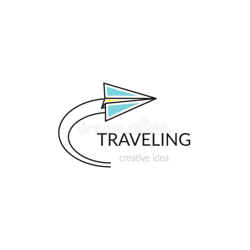 Ejemplo de la plantilla del logotipo para la compañía de línea aérea, el aeropuerto o la agencia de viajes stock de ilustración