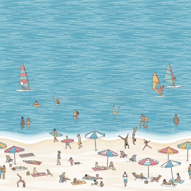 Ejemplo de la playa con el espacio para el texto ilustración del vector