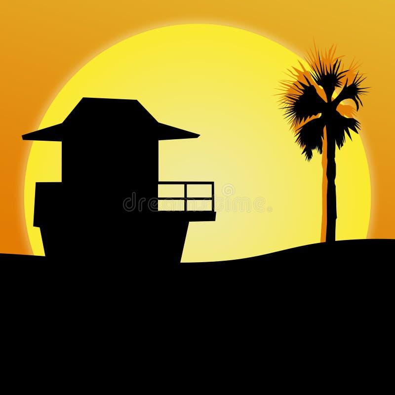 Ejemplo de la playa de la puesta del sol imagen de archivo libre de regalías