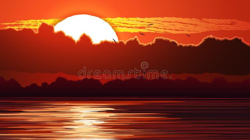 Ejemplo de la puesta del sol y del resplandor rojos en el agua libre illustration