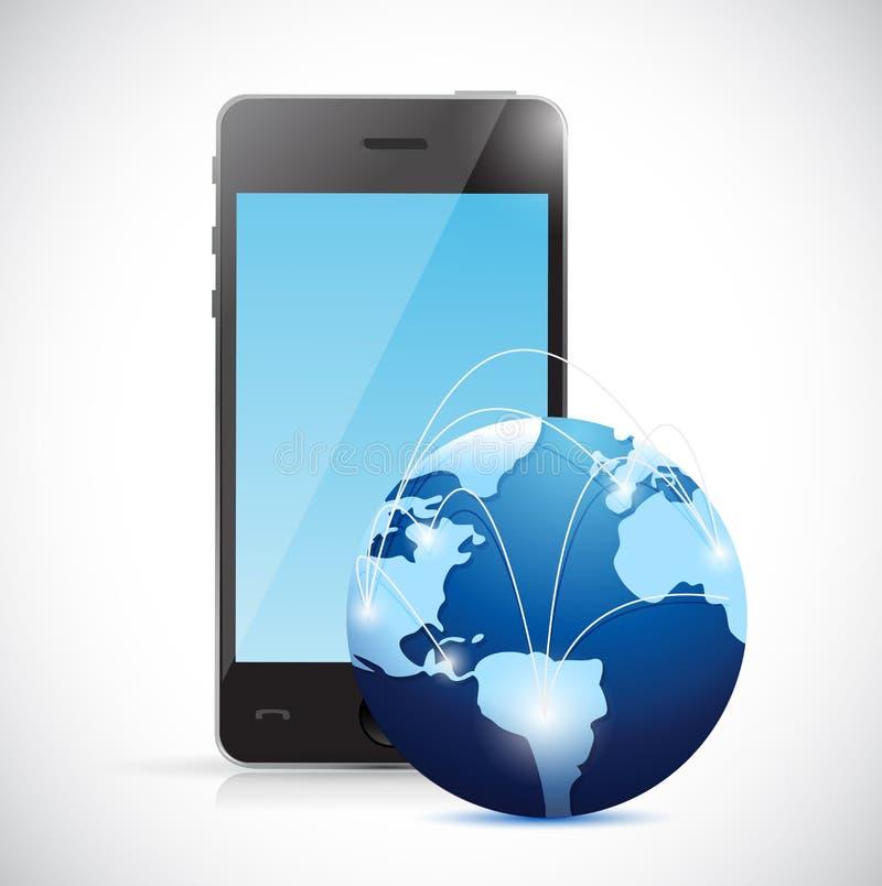 Ejemplo de la red del globo del teléfono y del mundo ilustración del vector