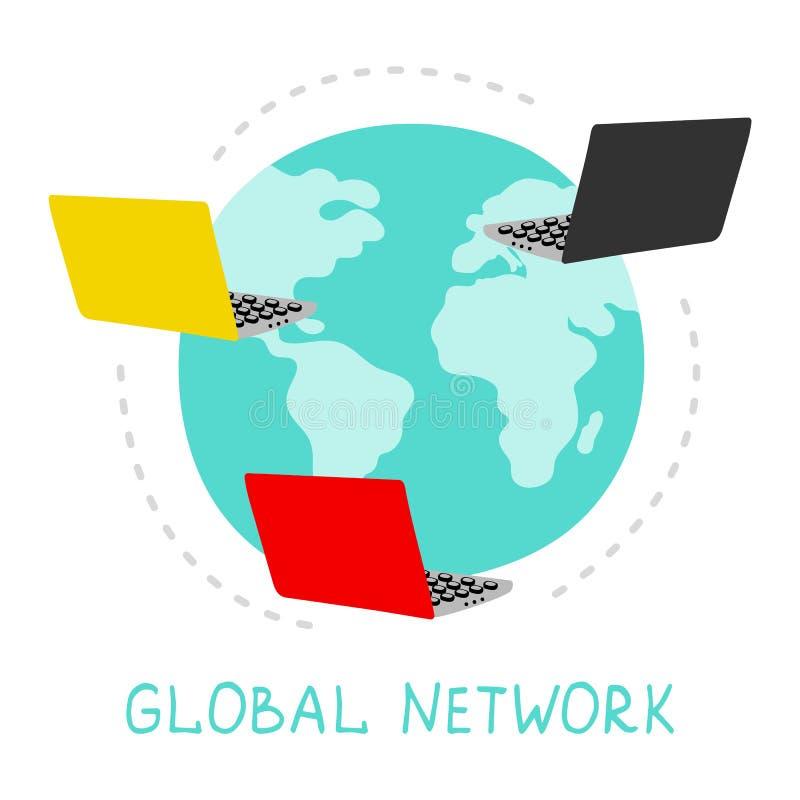 Ejemplo de la red global Concepto de la conexión a internet del vector Planeta y ordenadores portátiles stock de ilustración