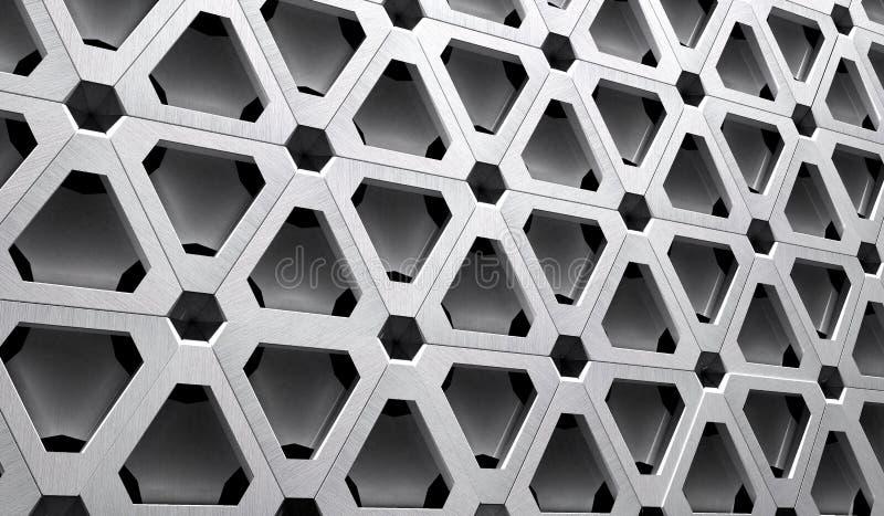 Ejemplo de la rejilla 3D del metal de High Tech stock de ilustración