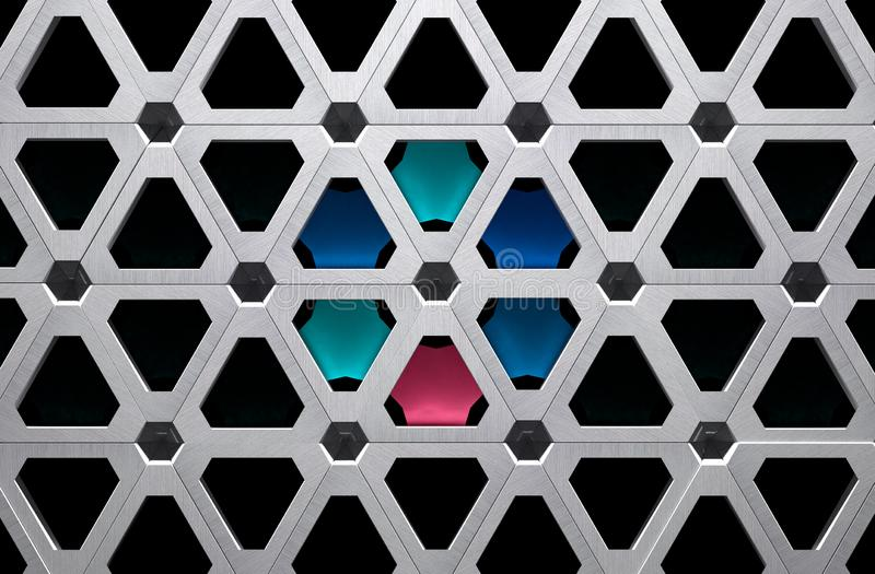 Ejemplo de la rejilla 3D del metal de High Tech con segmentos coloreados ilustración del vector