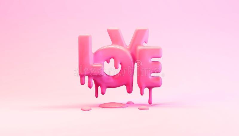 ejemplo de la representación 3d del amor de fusión de la palabra con descensos en estudio plástico rosado brillante ilustración del vector