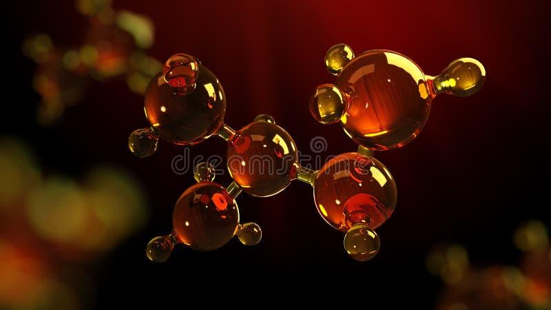 ejemplo de la representación 3d del modelo de cristal de la molécula Molécula del aceite Concepto de aceite o de gas de motor del stock de ilustración